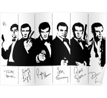 James Bond - multiple actors with signatures Poster