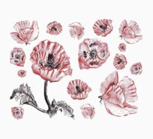 Poppies - Black Background One Piece - Short Sleeve