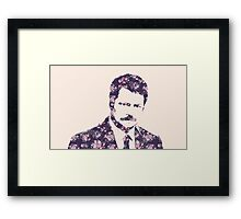 Ron Swanson in Florals Framed Print