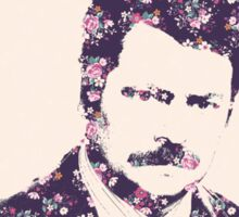 Ron Swanson in Florals Sticker