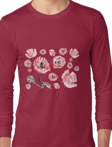 Poppies - White Background Long Sleeve T-Shirt