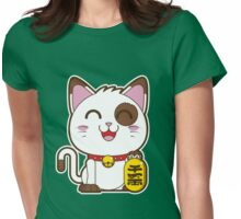 Maneki Neko (White) Womens Fitted T-Shirt