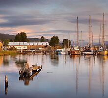 Wooden Boat Centre Panorama, Franklin, Tasmania by Chris Cobern