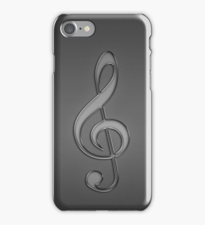 Treble Clef Music notes light grey iPhone Case/Skin