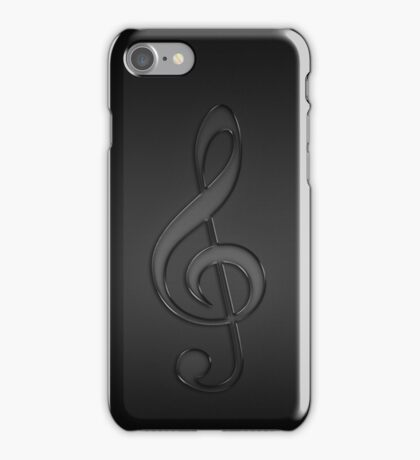 Treble clef music note dark iPhone Case/Skin