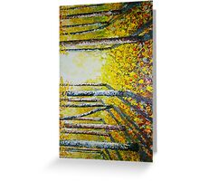 Autumn leaves in forest painting  Greeting Card