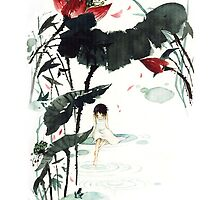 TRANDITIONAL CHINESE PAINTING - FLOWER&GIRL by deviloblivious