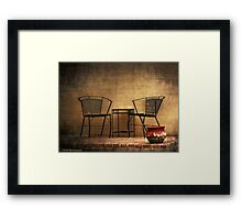 Table and Chairs in Black Framed Print