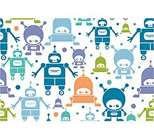 Colorful fun robots pattern Photographic Print