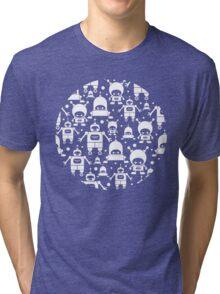 Colorful fun robots pattern Tri-blend T-Shirt