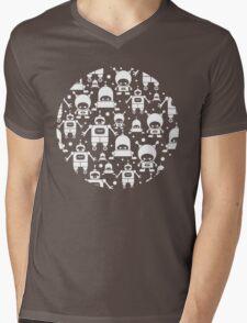 Colorful fun robots pattern Mens V-Neck T-Shirt