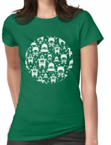 Colorful fun robots pattern Womens Fitted T-Shirt