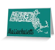 Massachusetts Typography Map Greeting Card