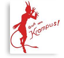 Krampus 24 Red on Green Canvas Print