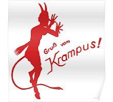 Krampus 24 Red on Green Poster