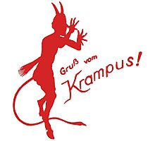Krampus 24 Red on Green Photographic Print