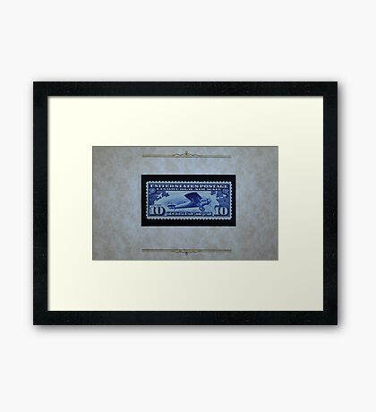 The Ten Cent LIndbergh Commemorative Air Mail Stamp of 1927 - Framed Print