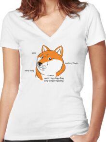 What does the foxe say? Women's Fitted V-Neck T-Shirt