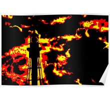 Fiery Lighthouse Poster