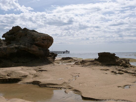 Rock pools Aging Cliffs & Jetty. Point Lonsdale, Bass Strait, Victoria. by Rita Blom