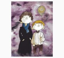 Sherlock and John and a yellow smile balloon Kids Clothes