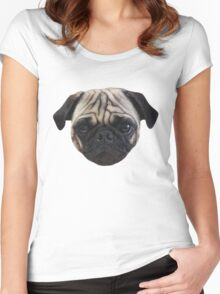 Cute Caesar the Pug Face by AiReal Apparel Women's Fitted Scoop T-Shirt