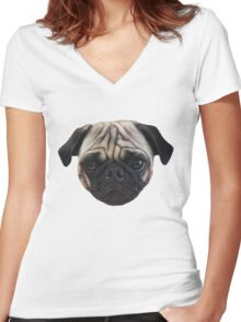 Cute Caesar the Pug Face by AiReal Apparel Women's Fitted V-Neck T-Shirt