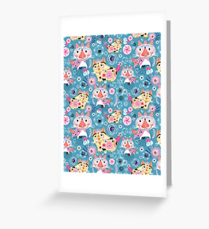 Beautiful ornamental pattern with cats Greeting Card