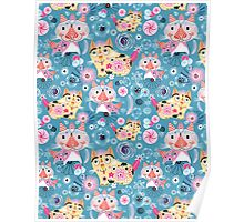 Beautiful ornamental pattern with cats Poster