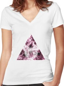 Abstract Butterfly Women's Fitted V-Neck T-Shirt