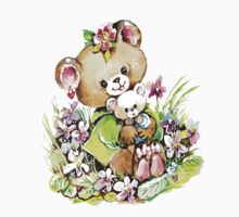 Cute Bear Illustration One Piece - Short Sleeve