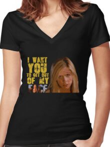 Get Out Of My Face Women's Fitted V-Neck T-Shirt