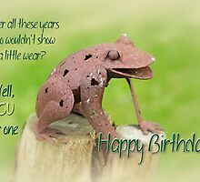 Happy Birthday Greeting Card - Rusty Frog Sculpture by MotherNature