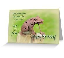 Happy Birthday Greeting Card - Rusty Frog Sculpture Greeting Card