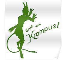 Krampus 24 Green on Red Poster