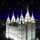 Salt Lake Temple Starry Night 20x30 by Ken Fortie