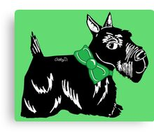 Scottie Dog with a Green Bow Canvas Print