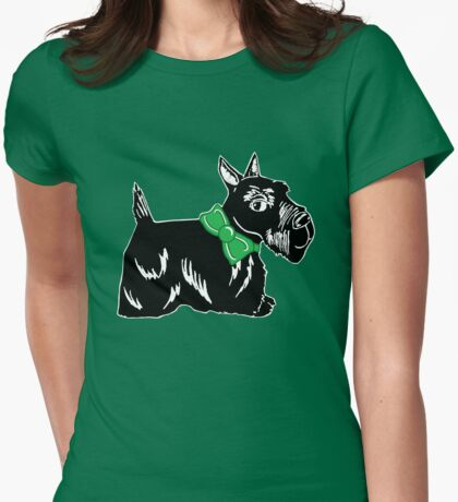 Scottie Dog with a Green Bow Womens Fitted T-Shirt