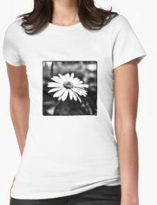 Tiny Flower in Black/White Womens Fitted T-Shirt