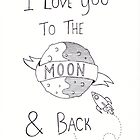 To The Moon And Back - Black & White by Marissa Falk-Varcoe