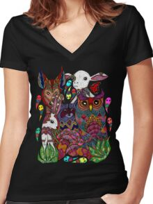 Woodland Creatures Women's Fitted V-Neck T-Shirt
