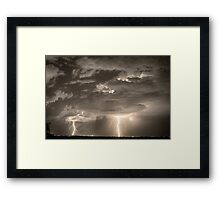 Double Lightning Strikes in Sepia HDR Framed Print