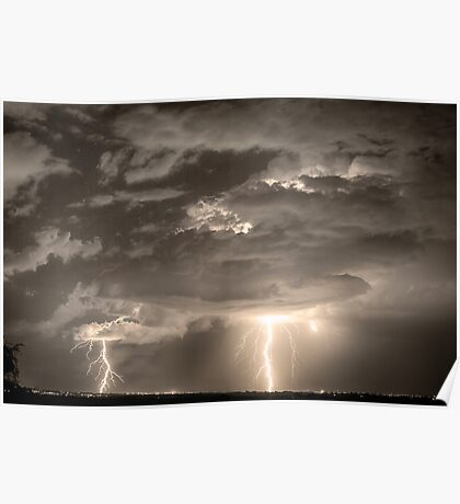 Double Lightning Strikes in Sepia HDR Poster
