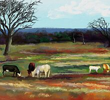 GRAZING IN THE PASTURE by Sandra  Aguirre