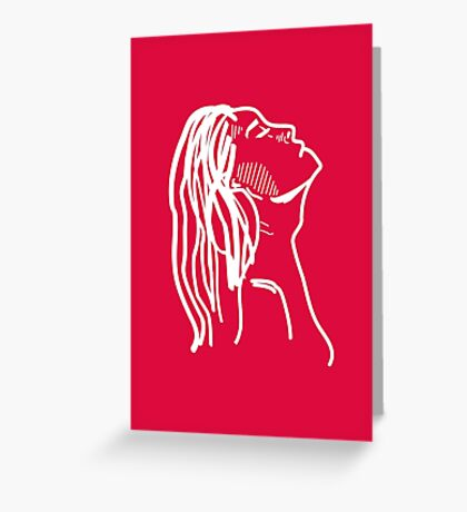 Red Girl Sketch Greeting Card
