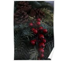 Holly Berries Christmas Wreath Poster