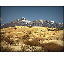 Snowy Peaks on a Desert Plain Photographic Print