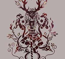 Cernunnos Pagan God with Horns and Caducé crossover Paganart by Bleuts
