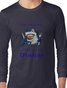 Sharks ! Warning Designer Tees and Stickers Long Sleeve T-Shirt