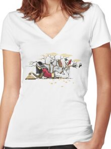 Compelling Compendium Women's Fitted V-Neck T-Shirt